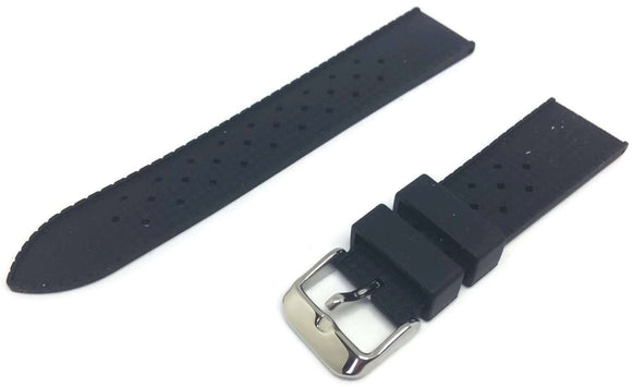 Tropic Watch Strap for Rolex Black Rubber Divers Strap 18mm to 24mm with Stainless Steel Buckle