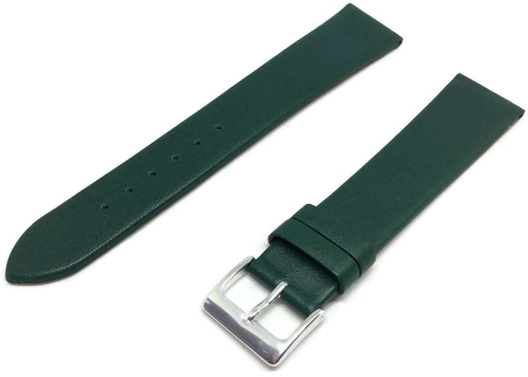 Calf Leather Watch Strap Green Extra Long Chrome Buckle 12mm to 30mm