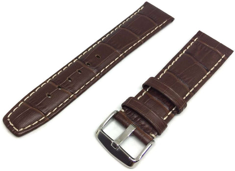 Crocodile Grain Watch Strap Brown Super Croc Grain with Nubuck Lining