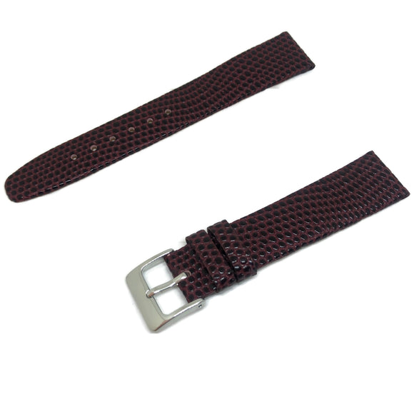 Lizard Grain Calf Leather Watch Strap Burgundy Silver Buckle Size 8mm to 22mm
