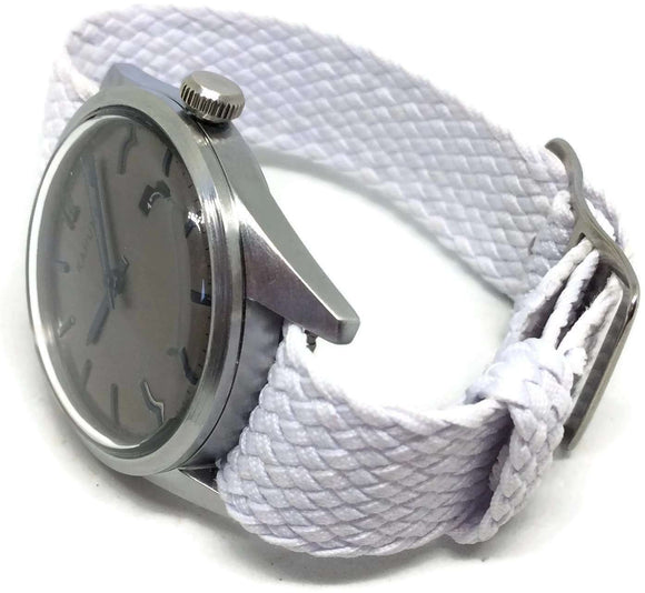 Perlon Watch Strap White 20mm with Matt Stainless Steel Buckle