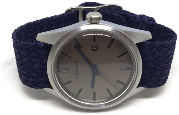 Perlon Watch Strap Navy Blue 20mm with Matt Stainless Steel Buckle