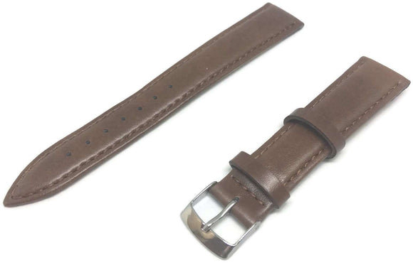 Golden Brown Imitation Leather Watch Strap Stitched with Stainless Steel Buckle Size 12mm to 20mm