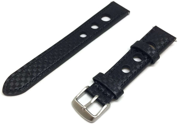 Grand Prix Rally Watch Strap Calf Leather Carbon Fibre Pattern 18mm to 24mm Stainless Buckle