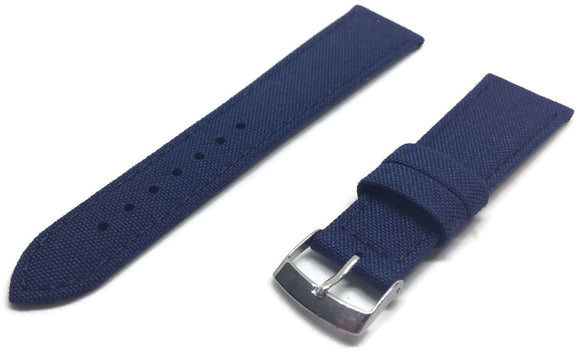 Blue Cordura Fabric Watch Strap Stainless Steel Buckle Size 18mm to 24mm