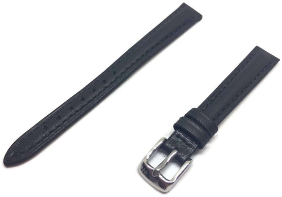 Calf Leather Watch Strap Superior Black Padded Chrome Buckle Size 12mm to 22mm