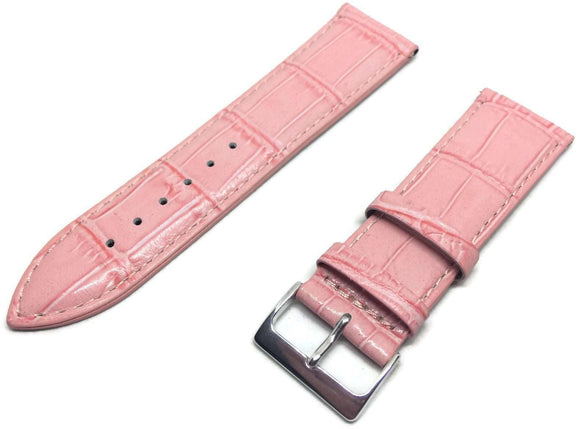 Crocodile Grain Watch Strap Pink Chrome Buckle Size 12mm to 26mm