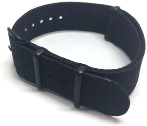 NATO Zulu G10  Watch Strap Black with Black Buckle Size 16mm to 24mm