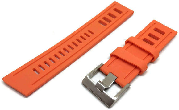 Orange Isofrane Style Diving Watch Strap Vintage Ladder Style Size Stainless Steel Buckle