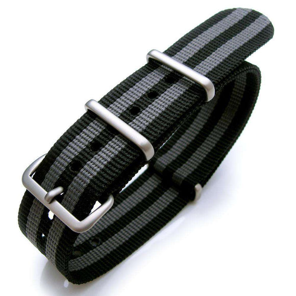 20mm or 22mm G10 Nato James Bond Heavy Nylon Strap Brushed Buckle - NYJ Double Black & Grey