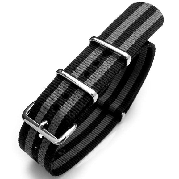 20mm or 22mm G10 Nato James Bond Heavy Nylon Strap Polished Buckle - NYJ Double Black & Grey