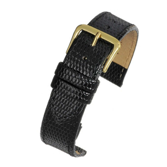 Lizard Grain Watch Strap Black
