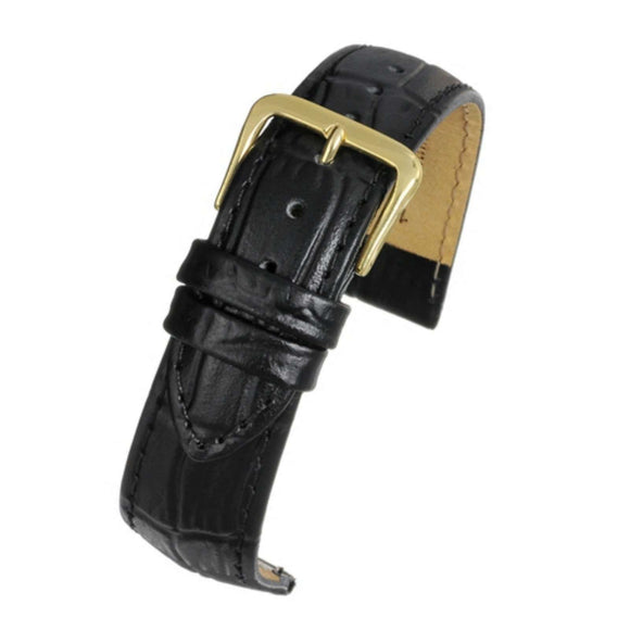 Crocodile Grain Watch Strap Black Padded