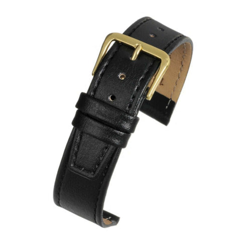 Calf Leather Watch Strap Black Stitched