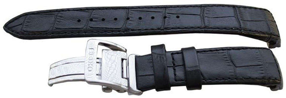 Authentic Seiko Watch Strap 21mm Alligator Grain - Black 4A072JL