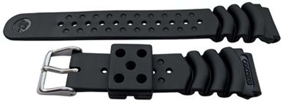 Authentic Seiko Watch Strap 20mm Rubber - Black 4HX0JB