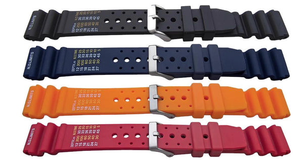 Diving Watch Strap Heavy Duty Rubber Extra Long ND Limits 20mm, 22mm