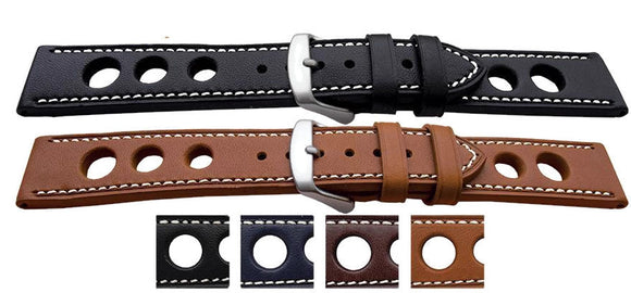 Grand Prix Rally Watch Strap Flat Smooth with White Stitching
