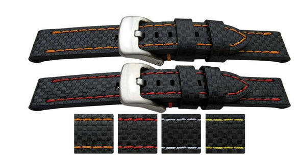 Grand Prix Rally Watch Strap Calf Leather Flat Carbon Fibre Pattern Coloured Stitching