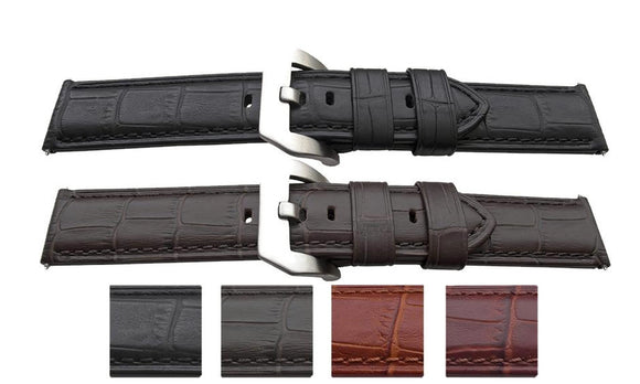Alligator Grain Watch Strap for Panerai 22mm and 24mm with Panerai Style Buckle