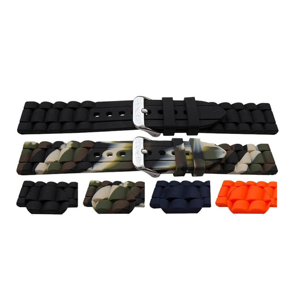 Rubber Watch Strap Bracelet Link Style Black, Camo, Blue and Orange with Stainless Steel Buckle