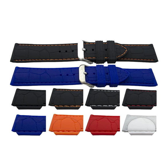 Rubber Watch Strap Alligator Grain with Coloured Stitching and Stainless Steel Buckle 18mm,20mm,22mm,24mm