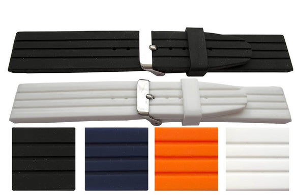 Rubber Watch Strap Smooth Silicone with Multi Groove Stainless Steel Buckle 20mm, 22mm and 24mm