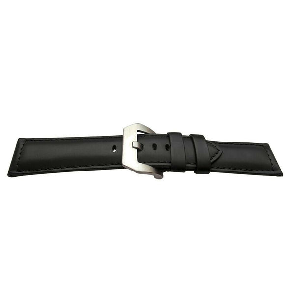 Calf Leather Watch Strap Black Padded for Panerai with Panerai Style Buckle