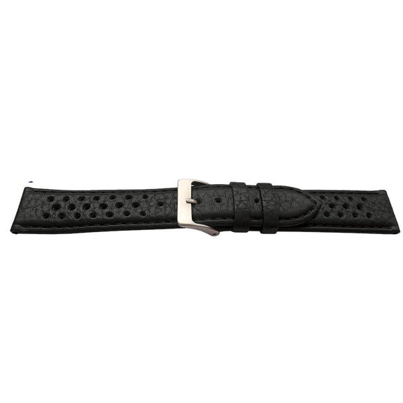 Grand Prix Rally Watch Strap Black Calf Leather Padded Buffalo Grain 20mm and 22mm