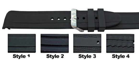Rubber Watch Strap with Curved End and Stylish Pattern