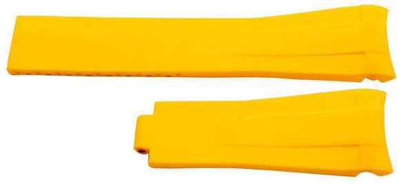 Rubber Watch Strap for Rolex GMT Oyster & Omega SeaMaster Yellow 20mm