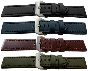 Calf Leather Watch Strap Smooth, Matt Flat Profile for Panerai 22mm,24mm amd 26mm