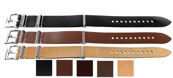 N.A.T.O Zulu G10 Watch Strap Leather with Superior Buckle 20mm and 22mm
