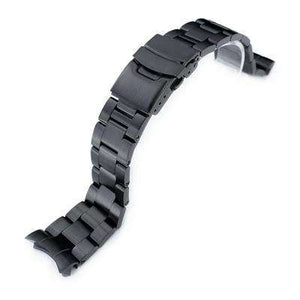22mm Super Oyster watch band for SEIKO Diver SKX007/009/011 Curved End, PVD Black