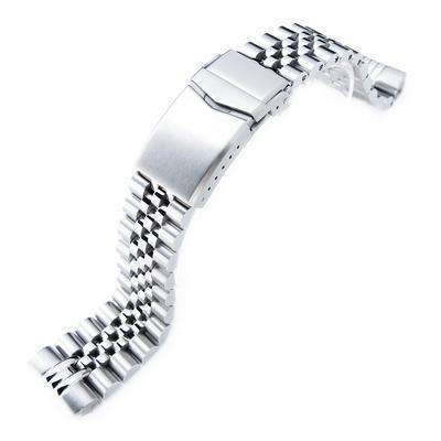 Strapcode Watch Bracelet 22mm Super 3D Jubilee 316L Stainless Steel Watch Bracelet for Seiko New Turtles SRP777 & PADI SRPA21, V-Clasp Brushed