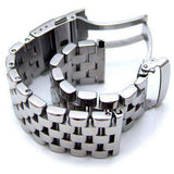 20mm, 22mm or 24mm Polished Super Engineer Type I Solid Link 316L Stainless Steel Watch Bracelet