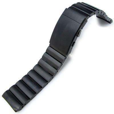 Strapcode Watch Bracelet 24mm Bandoleer Solid 316L stainless Steel PVD Black Replacement band for Panerai 44mm