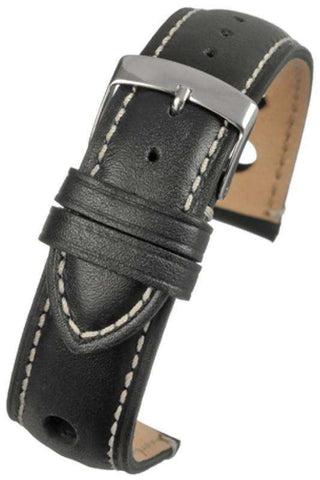 Black Rally Style Watch Strap with White Stitching and Stainless Steel Buckle