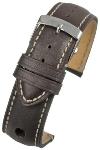 Brown Rally Style Watch Strap with White Stitching and Stainless Steel Buckle