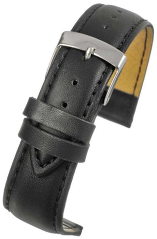 Black Imitation Leather Watch Strap Stitched with Chrome Buckle