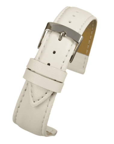 White Imitation Leather Watch Strap Stitched with Chrome Buckle Size 12mm to 20mm