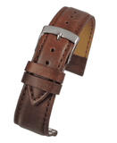 Golden Brown Imitation Leather Watch Strap Stitched with Chrome Buckle Size 12mm to 20mm