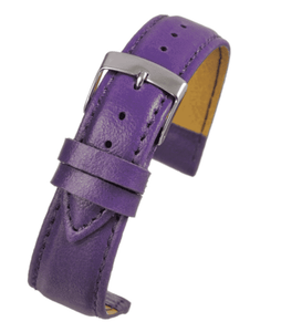Violet Imitation Leather Watch Strap Stitched with Chrome Buckle Size 12mm to 20mm