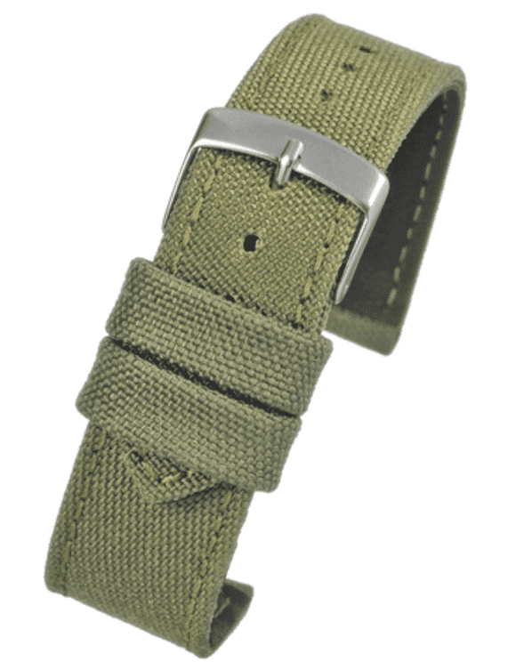 Green Fabric Watch Strap Size 18mm to 24mm