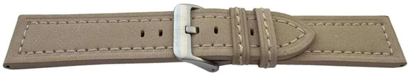 Calf Suede Watch Strap Beige Stitched Size 20mm, 22mm and 24mm Stainless Buckle