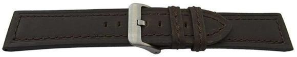 Calf Suede Watch Strap Dark Brown Stitched Size 20mm, 22mm and 24mm Stainless Buckle