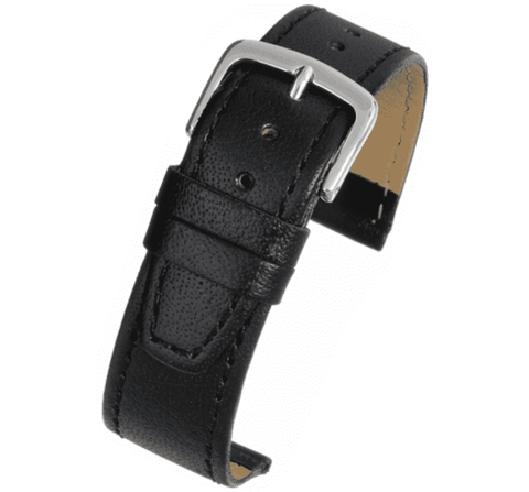 Black Glazed Calf Leather Watch Strap 8mm to 20mm