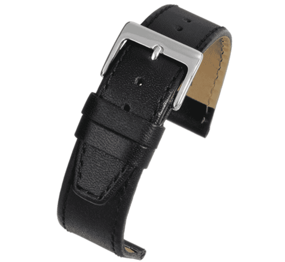 Calf Leather Watch Strap Black Stitched Square End with Chrome Buckle Size 8mm to 22mm