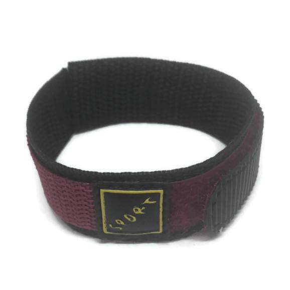 Velcro Watch Strap Marooon with Stainless Steel Ring 14mm and 18mm