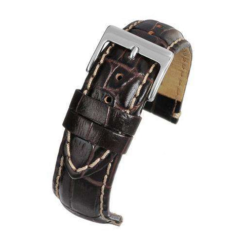 Calf Leather Watch Strap Brown Padded